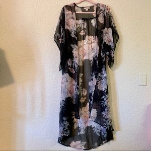 BOG | floral print  kimono duster medium small